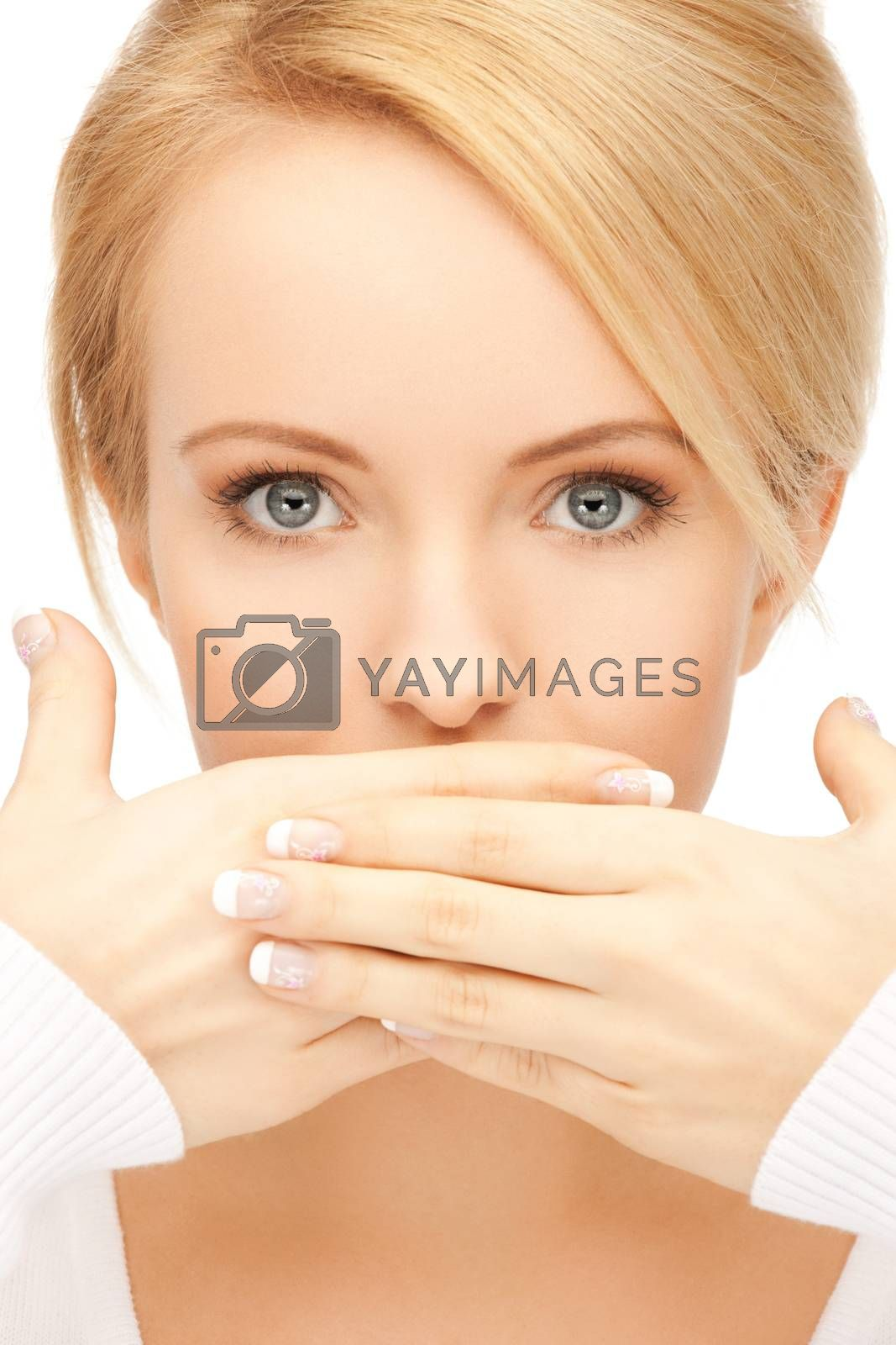 amazed woman with hand over mouth by dolgachov