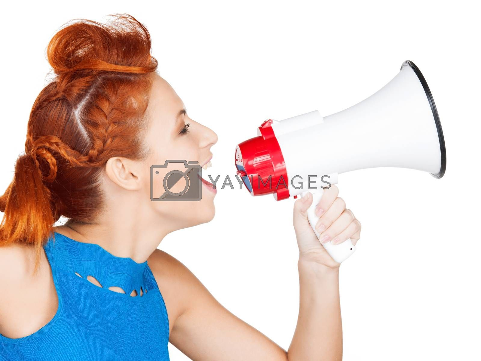 woman with megaphone by dolgachov