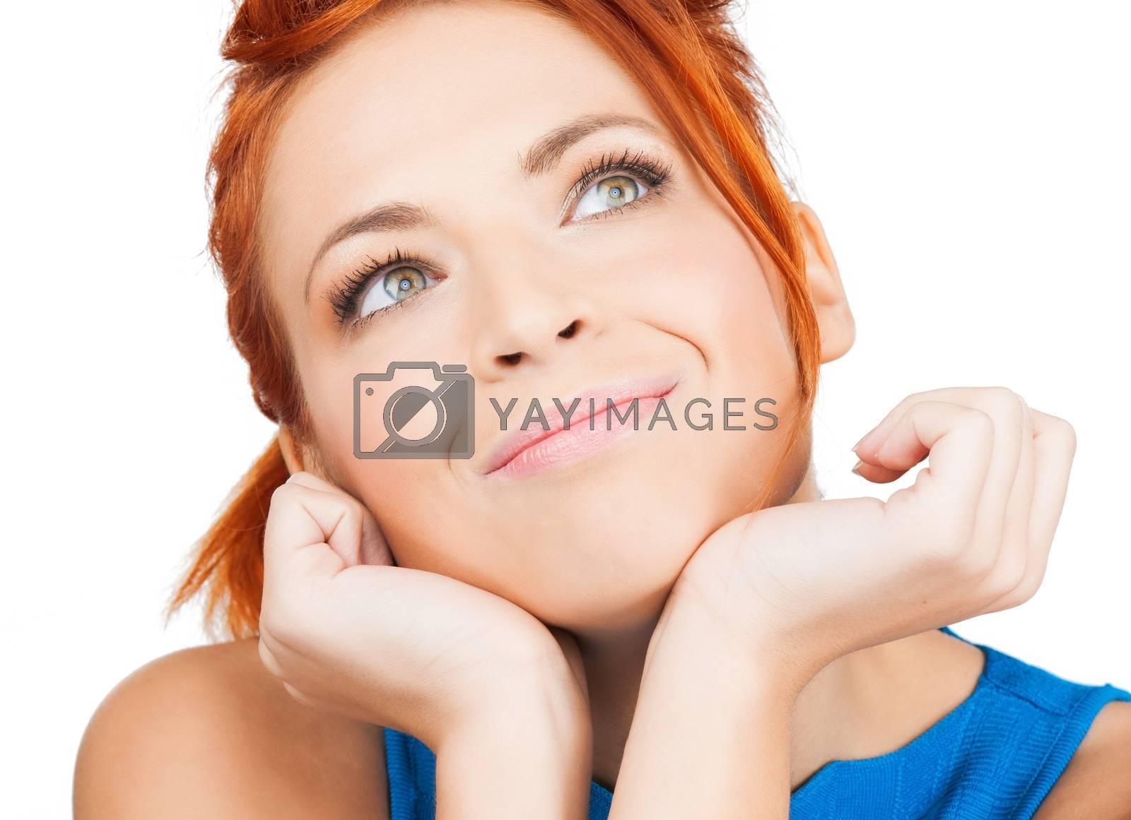 happy woman dreaming by dolgachov