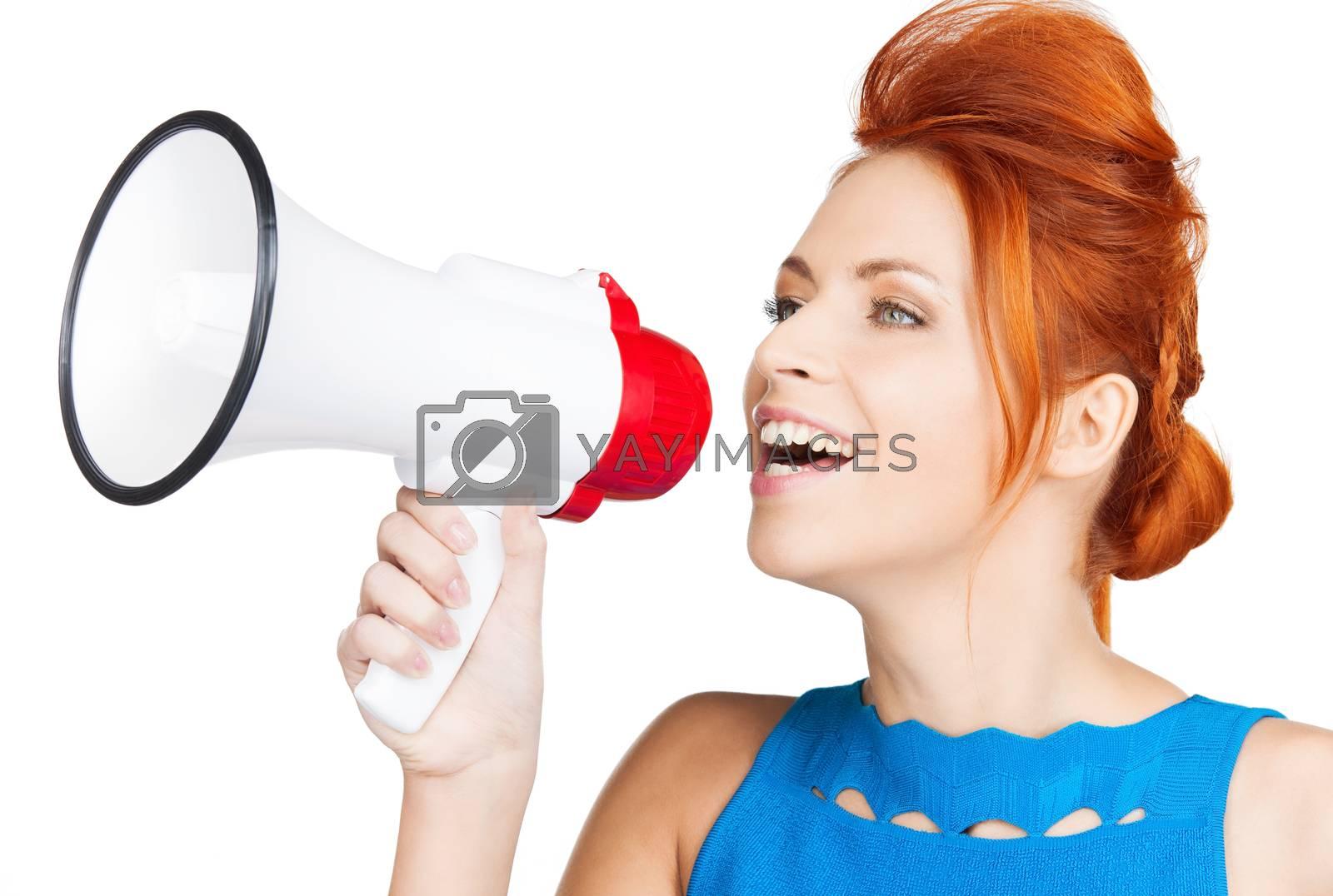 woman with megaphone by dolgachov