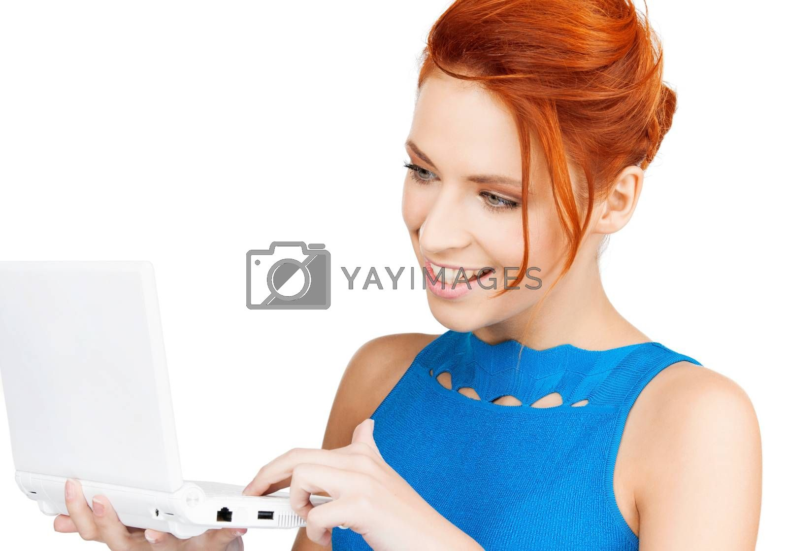 smiling woman with laptop computer by dolgachov