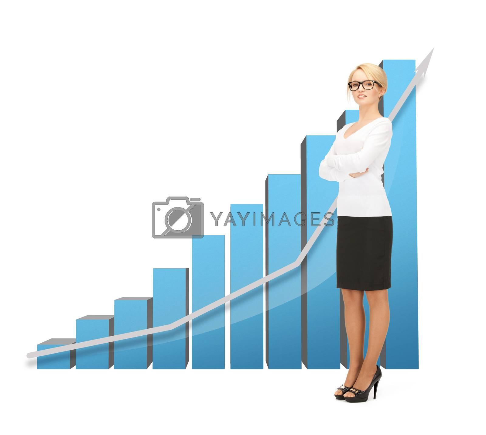 businesswoman with big 3d chart by dolgachov