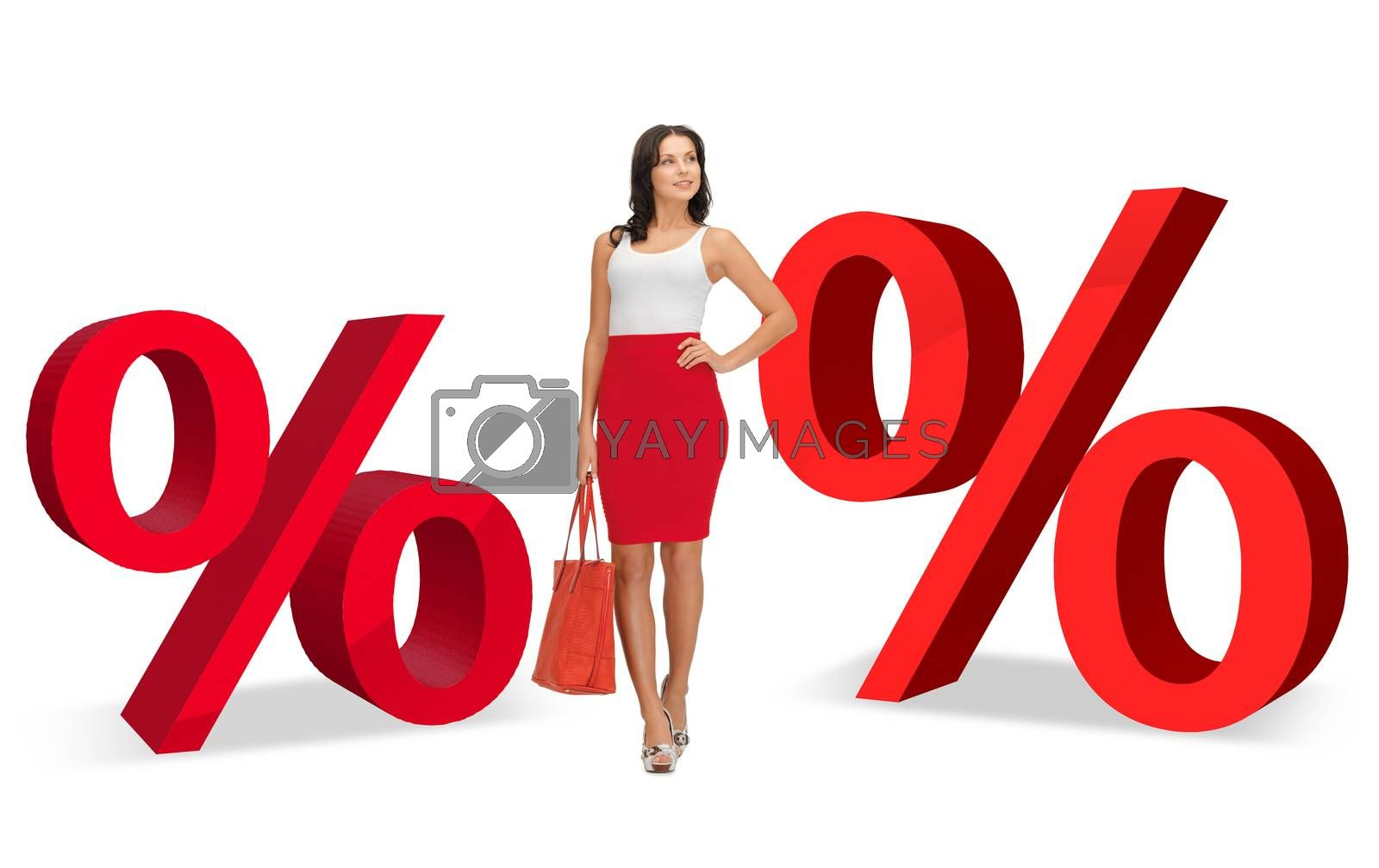 woman and two big red percent signs by dolgachov