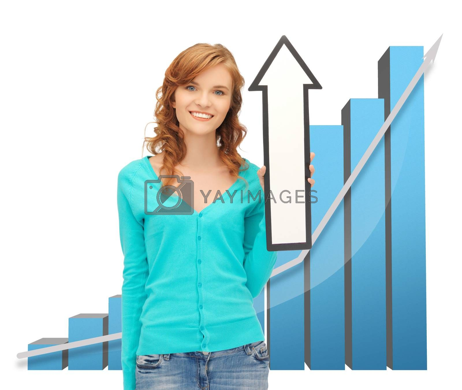 girl with big 3d chart holding arrow sign by dolgachov