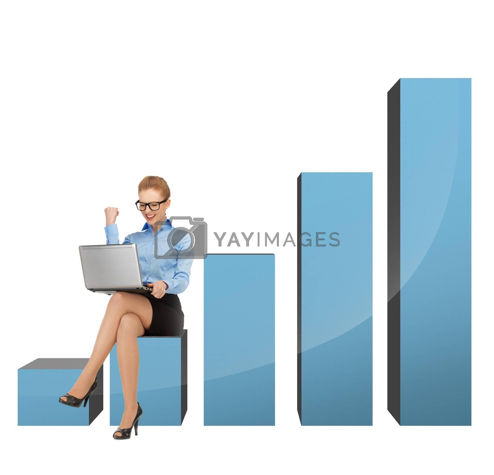 businesswoman sitting on big 3d chart by dolgachov