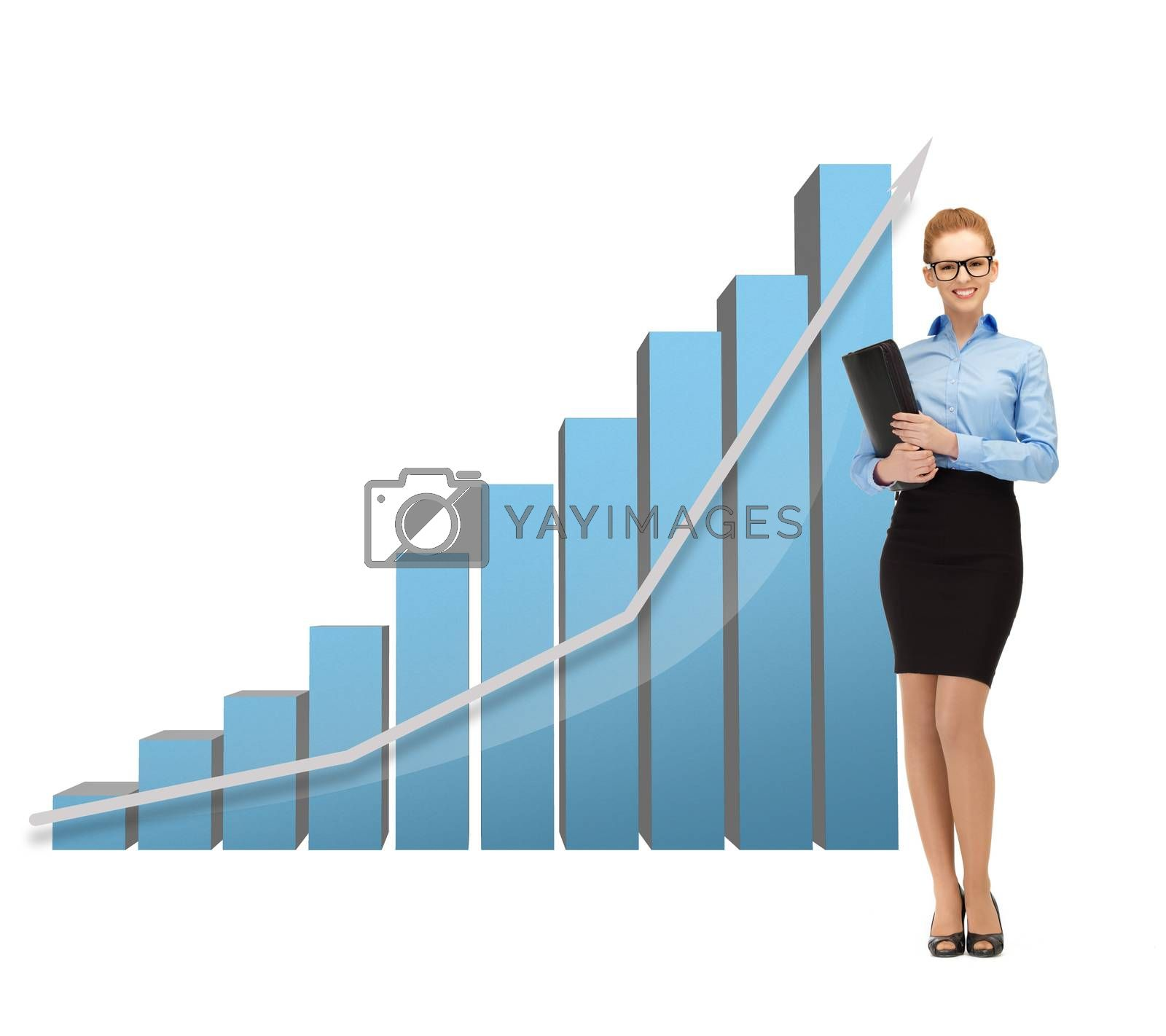 businesswoman with big 3d chart and folder by dolgachov