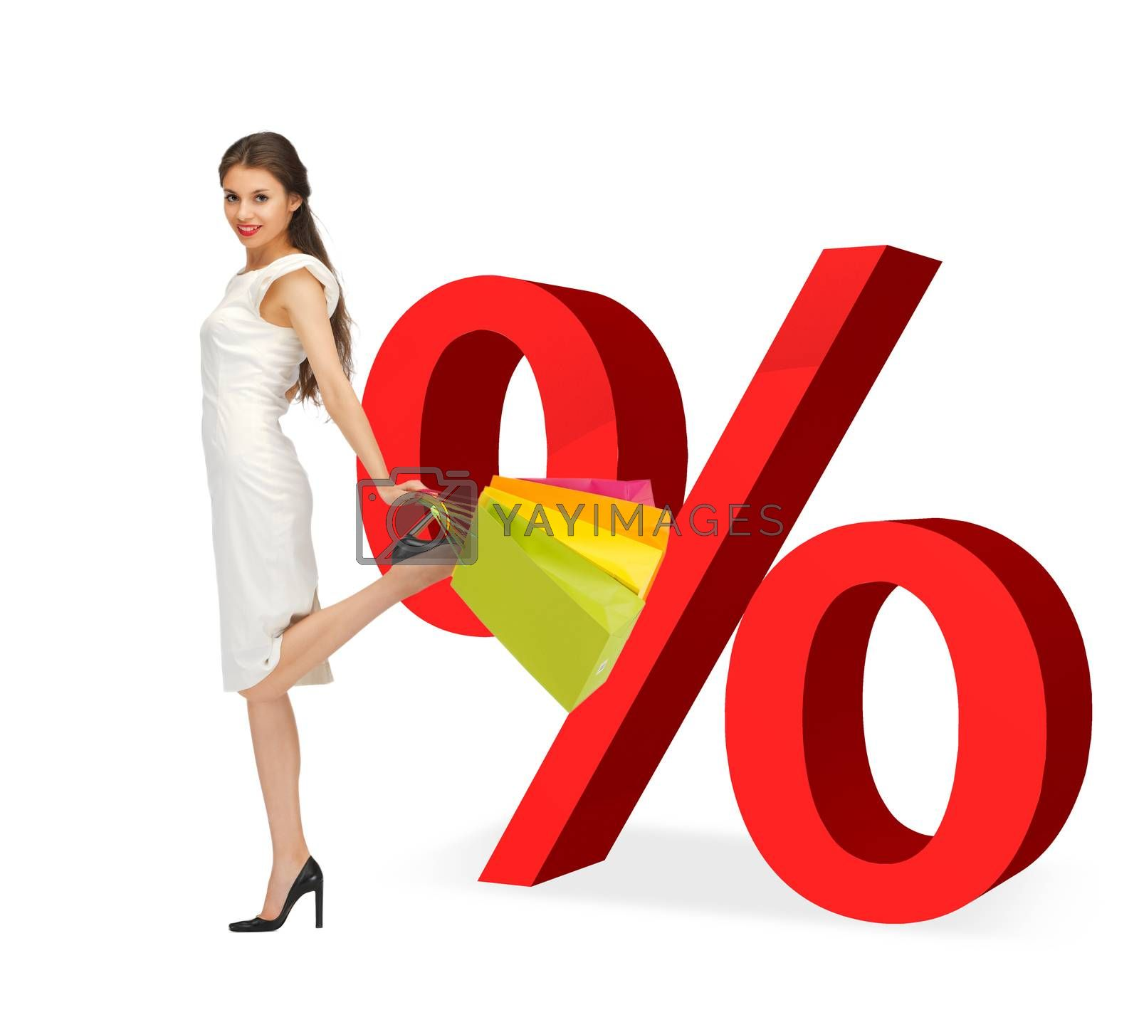 woman with shopping bags and percent signs by dolgachov