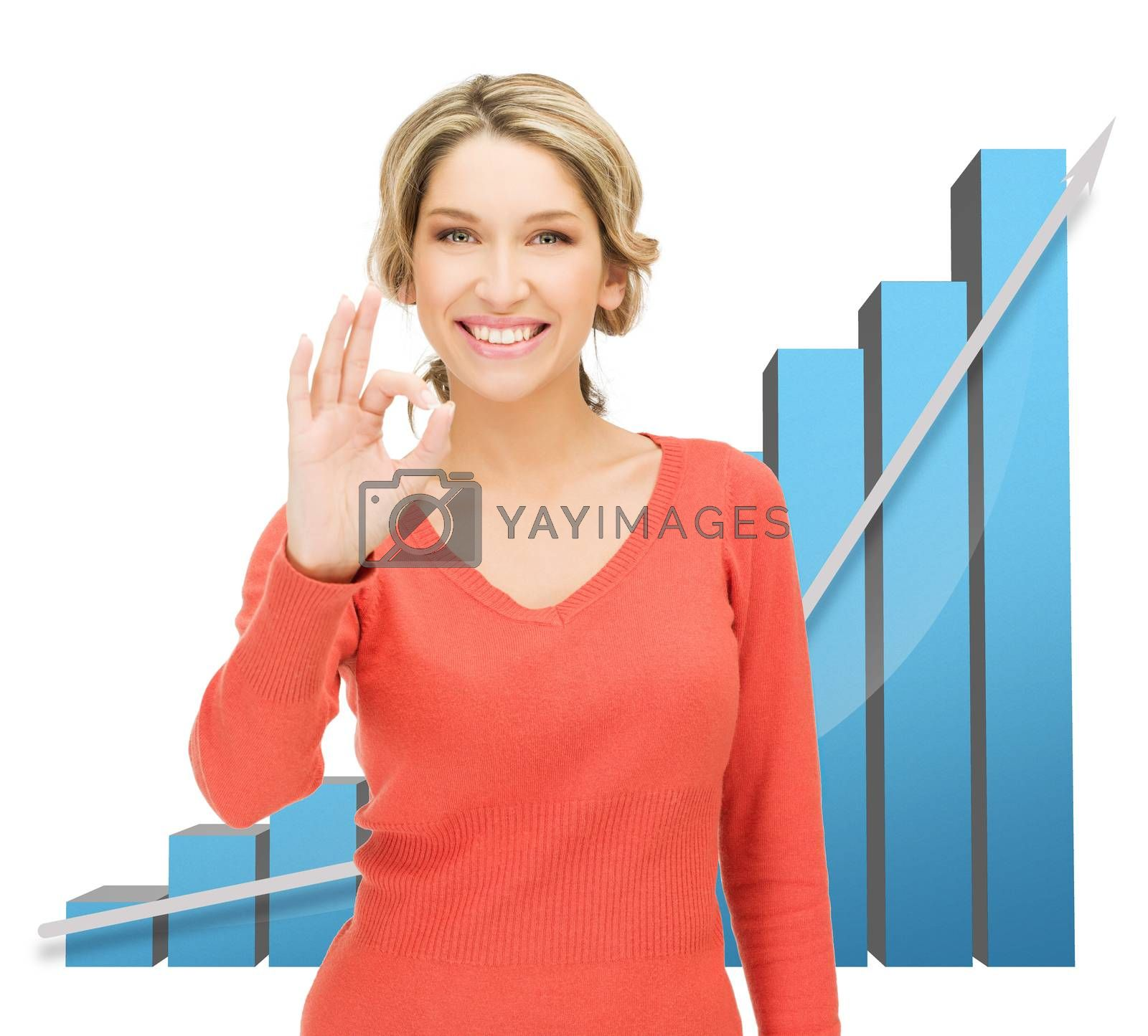businesswoman with big 3d chart by dolgachov