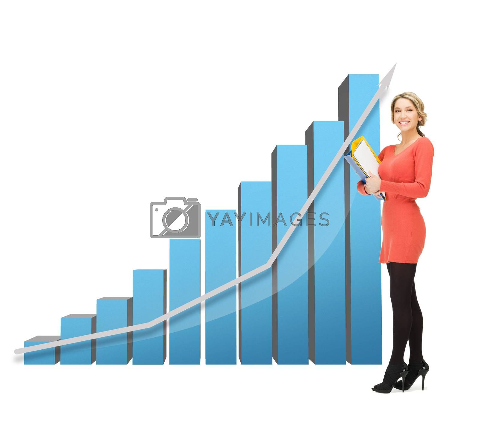 businesswoman with big 3d chart and folders by dolgachov