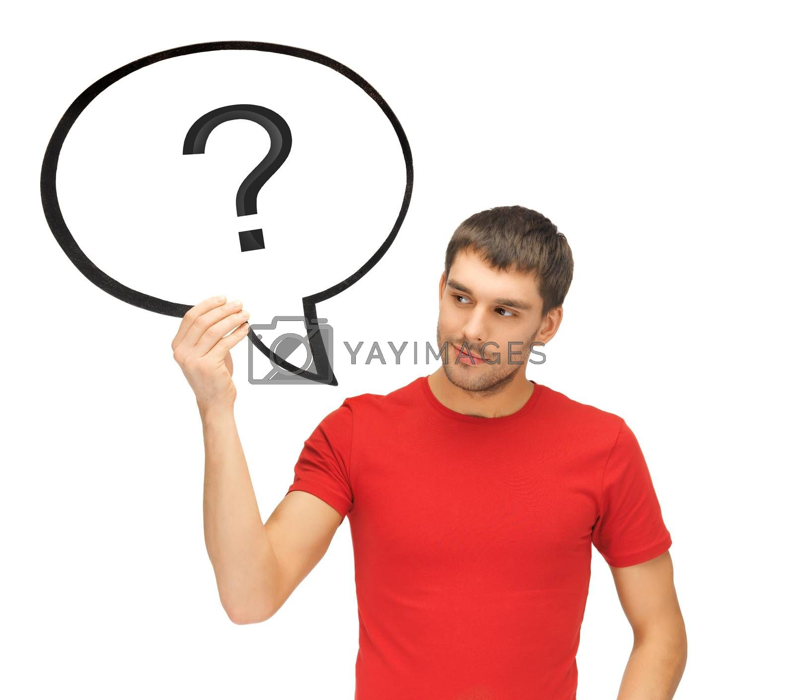 man with text bubble and question mark by dolgachov