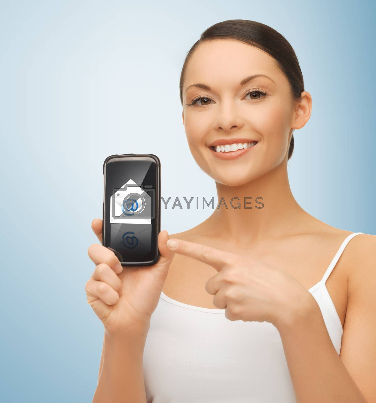 woman with smartphone and email icon by dolgachov