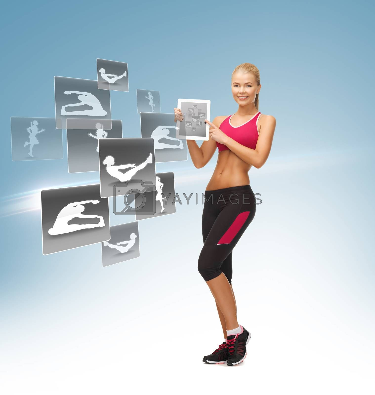 woman with tablet pc and virtual application by dolgachov