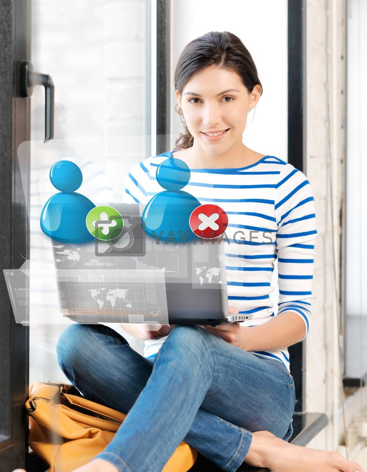 girl with laptop and contact icons by dolgachov