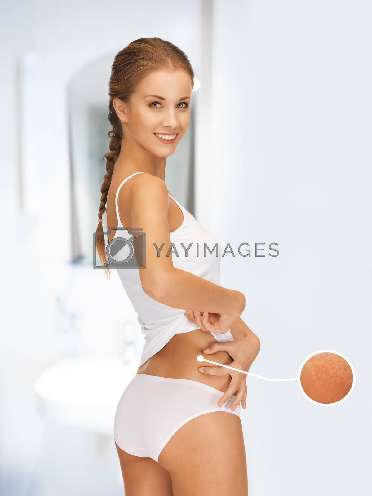 woman with magnifier showing cellulite by dolgachov