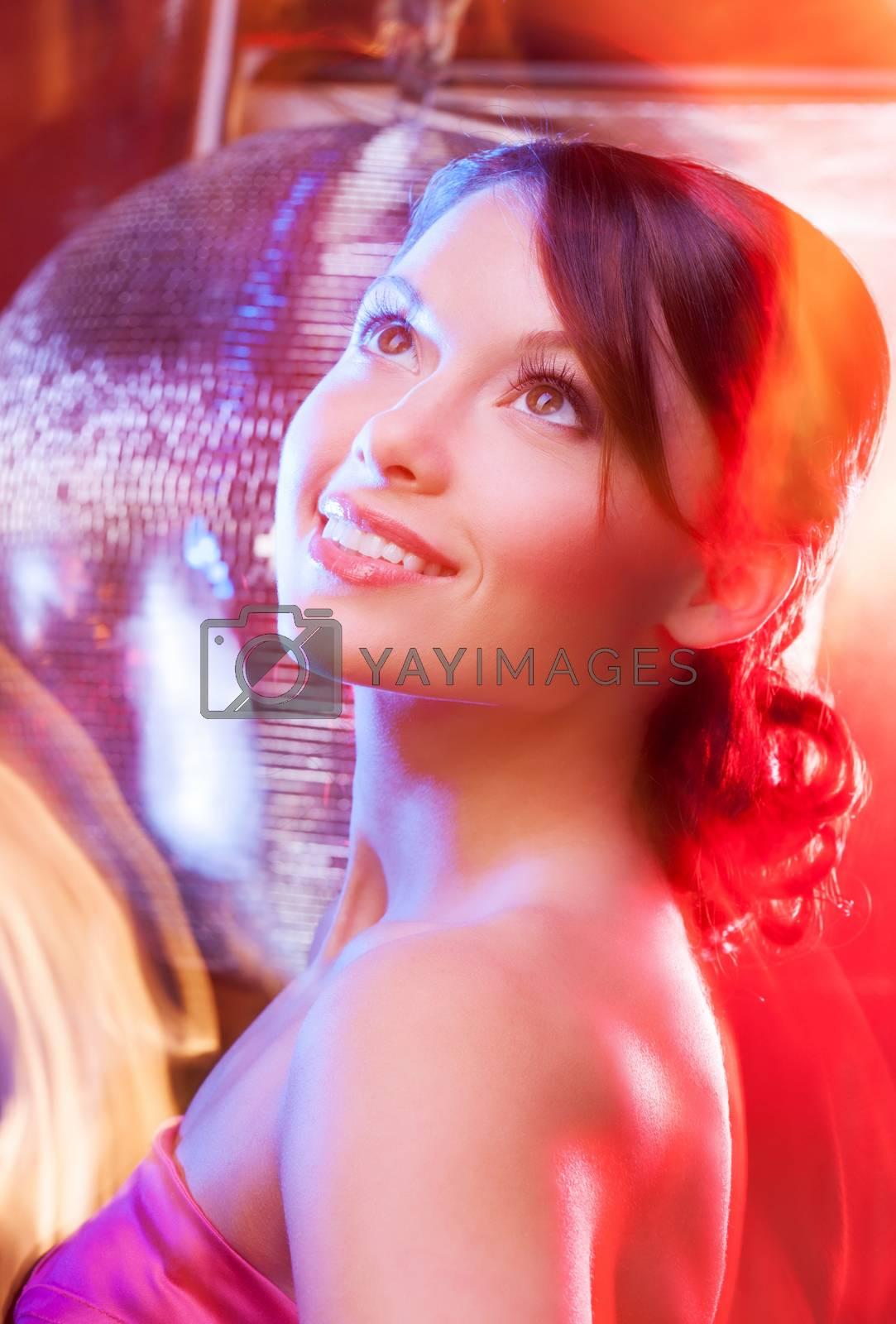 woman with disco ball by dolgachov