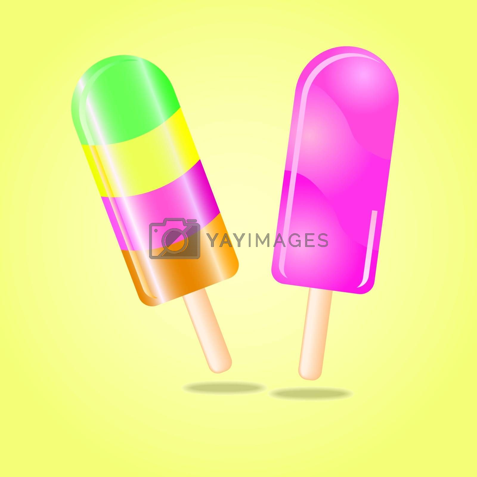 Multi flavored ice cream bar on a stick, vector illustration