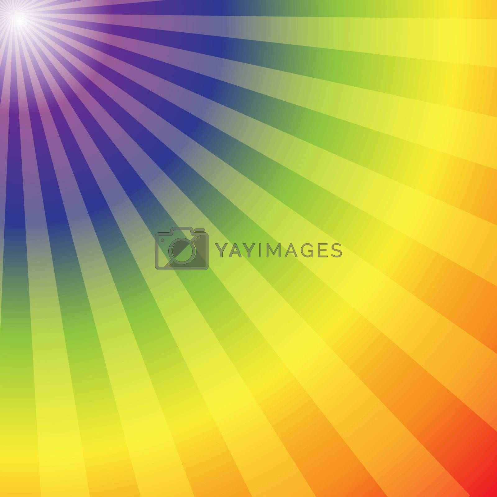 Rainbow radial rays abstract background, vector illustration