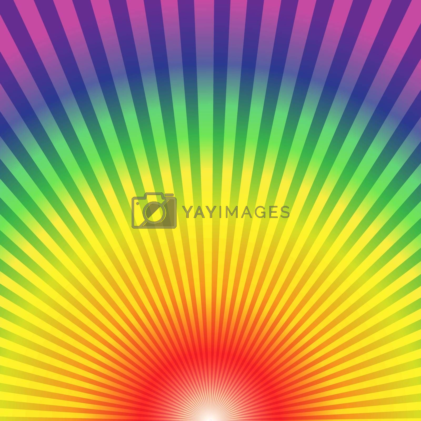 Rainbow radial rays bottom up abstract background, vector illustration