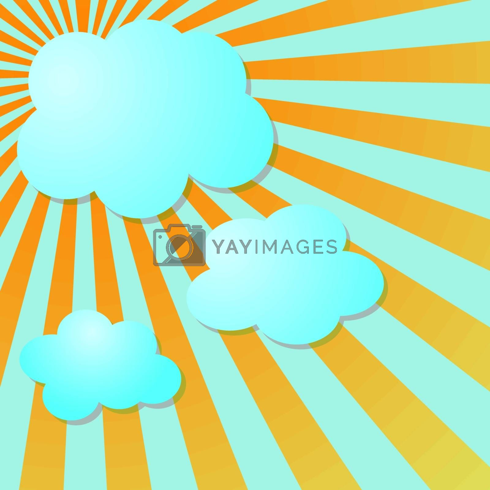 Summer blus sky with sun radial rays and clouds, vector illustration