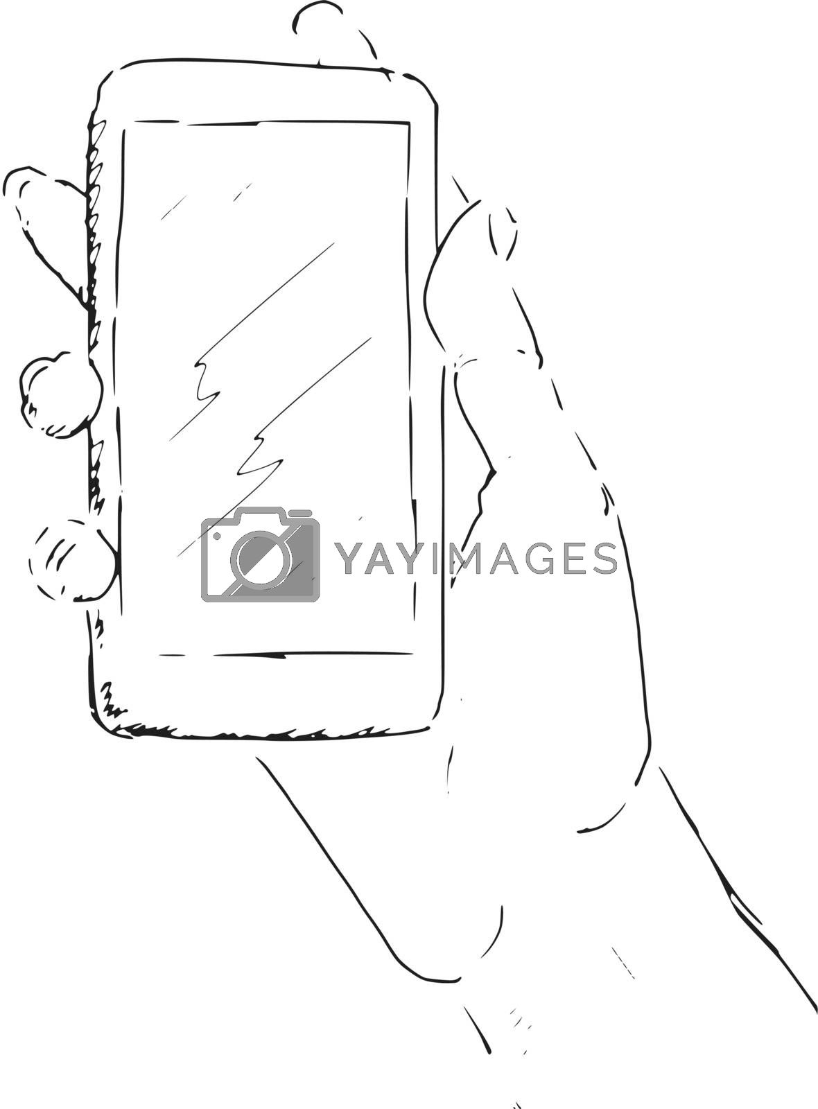 hand drawn, sketch of hand with smartphone