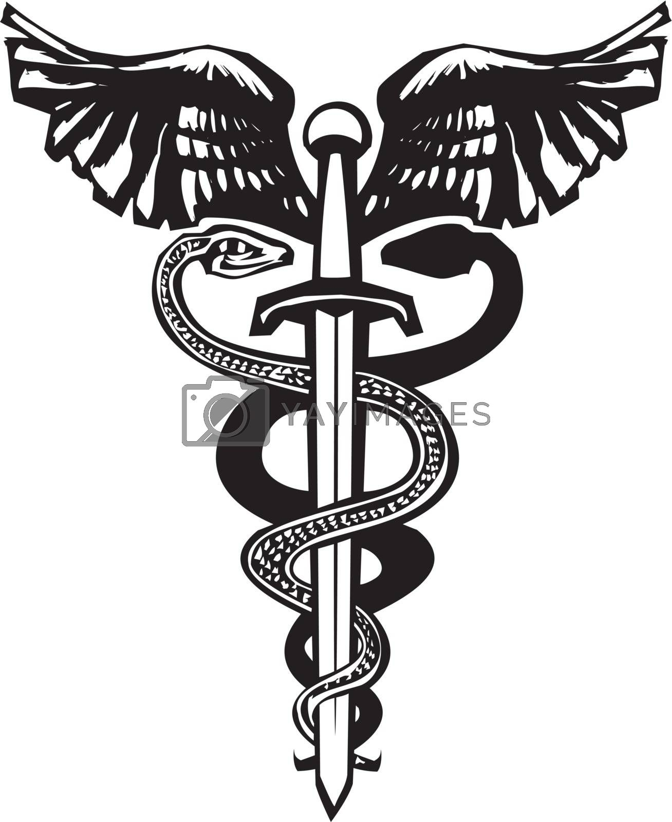 Woodcut variant image of the Caduceus with the snake entwined around a sword.