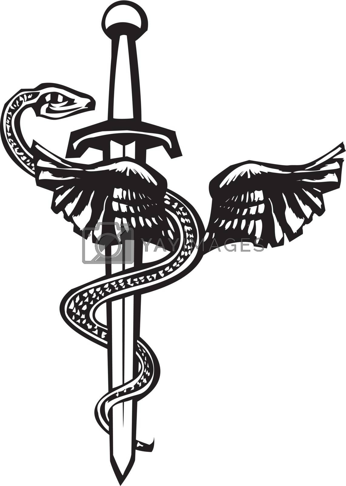 Woodcut image of the Mayan plumed serpent god Kukulcan entwined around a sword.