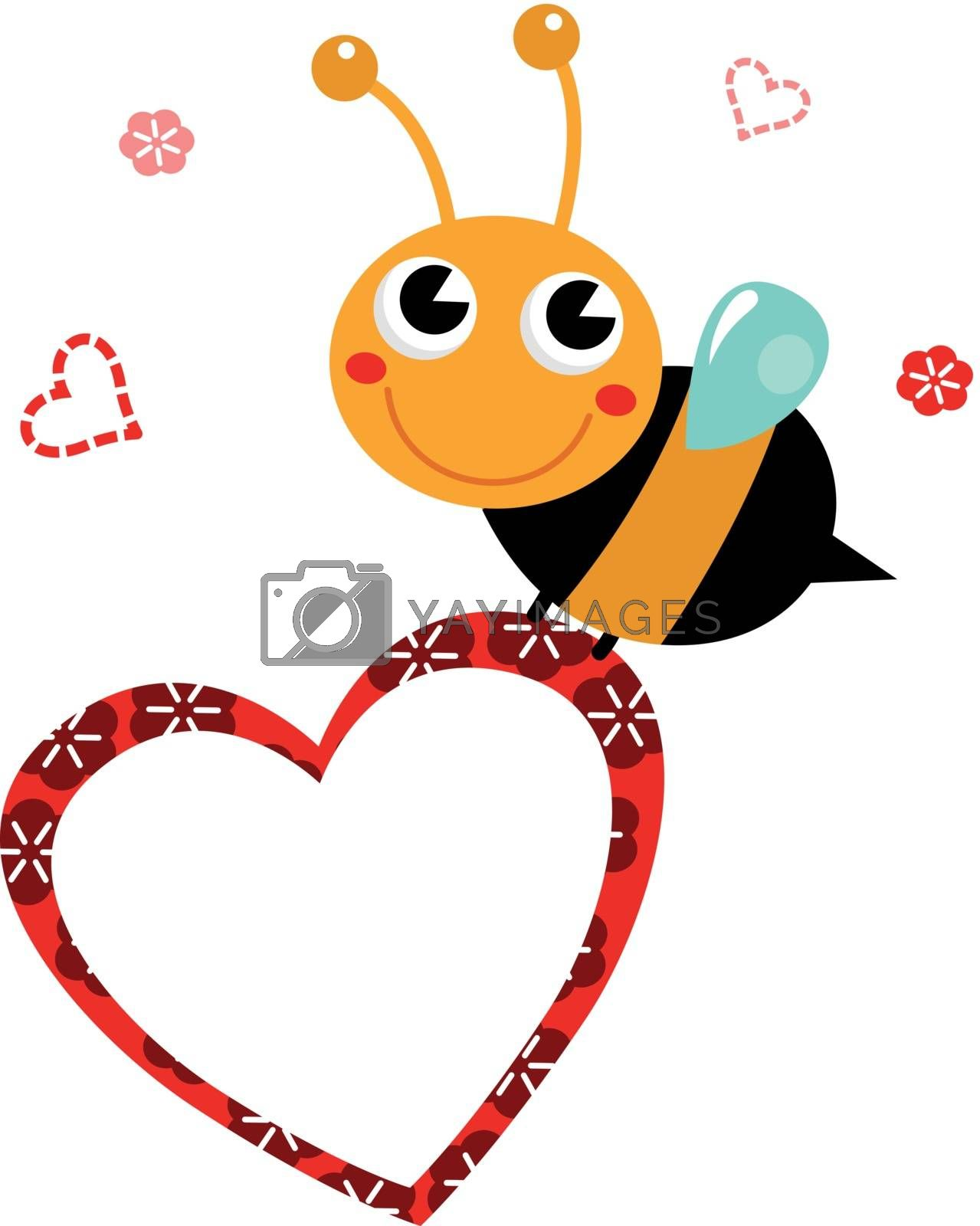 Adorable cartoon Bee holding heart. Vector Illustration in retro style