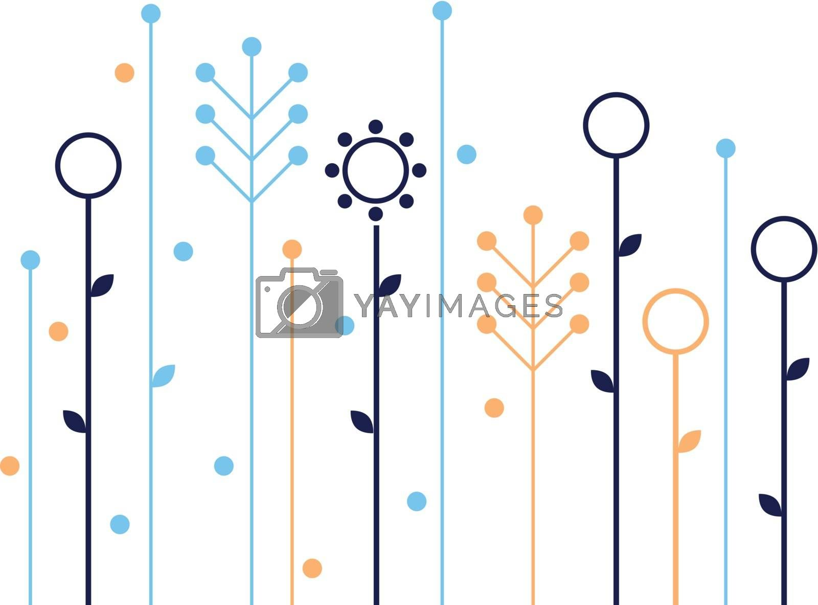 Beautiful colorful flowers. Vector Illustration