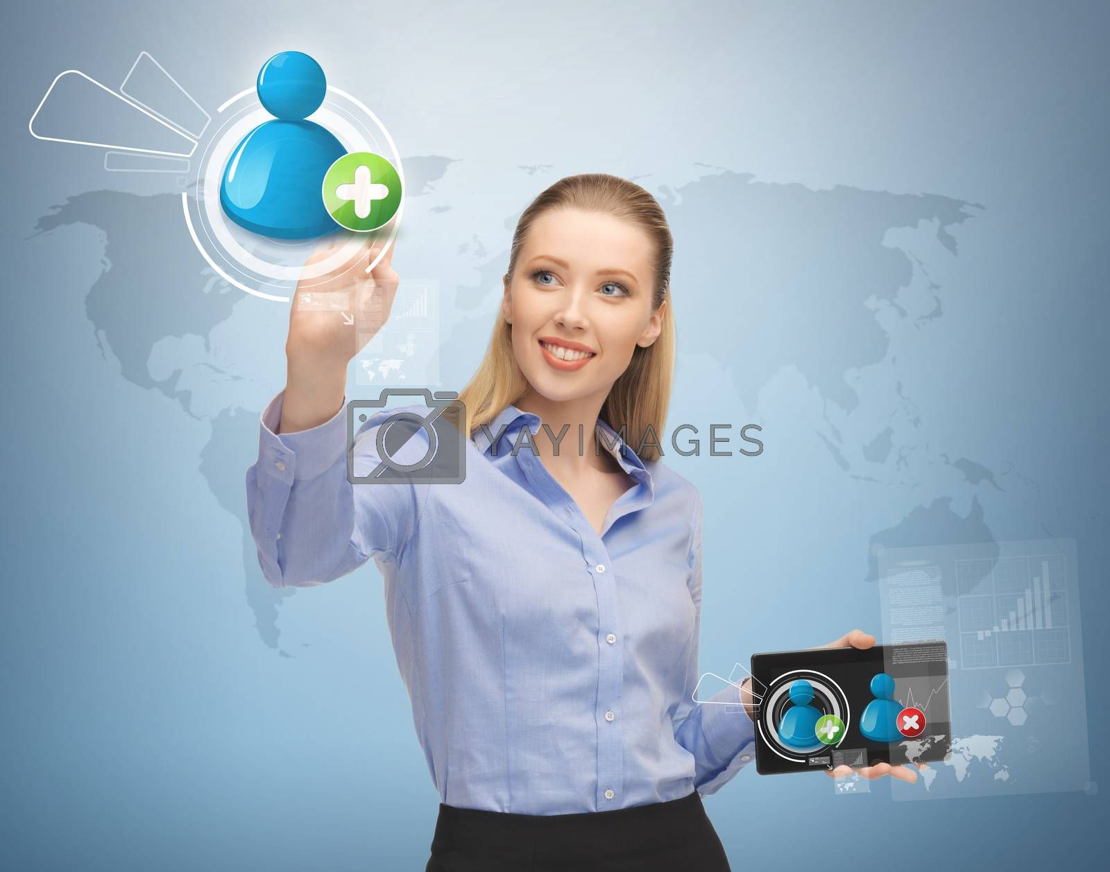 future, technology and communication - woman pressing button on virtual screen with contact icon