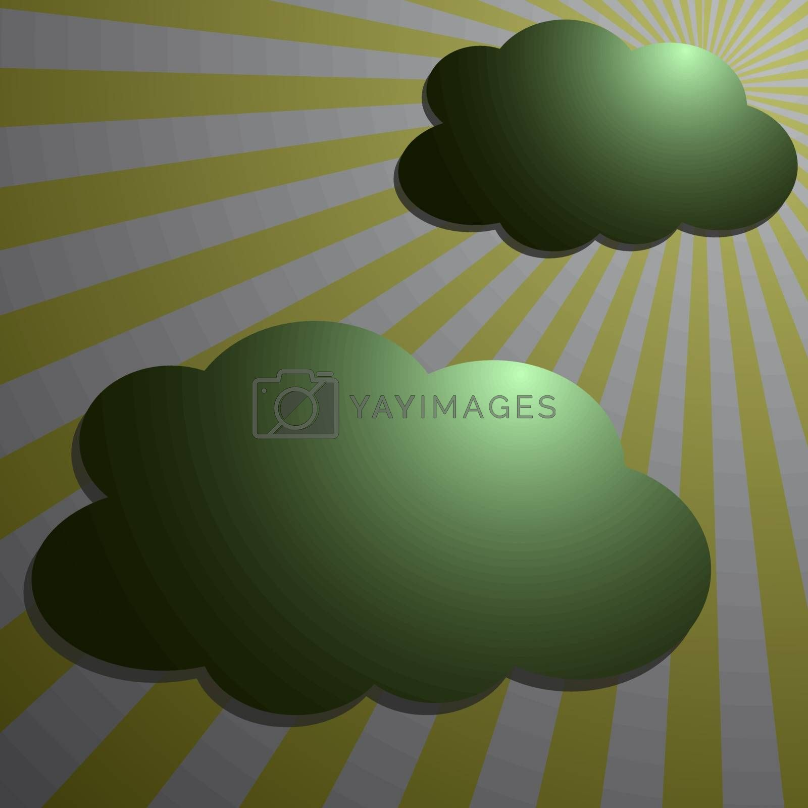 Clouds with the moon radial rays, vector illustration