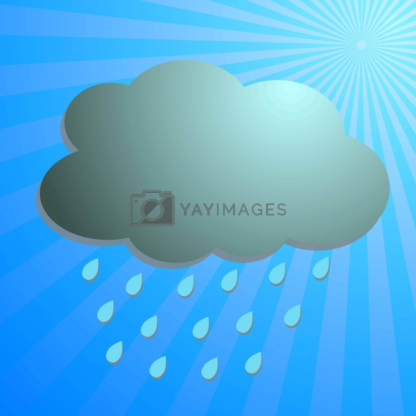 Clouds and rain drop with blue rays, vector illustration