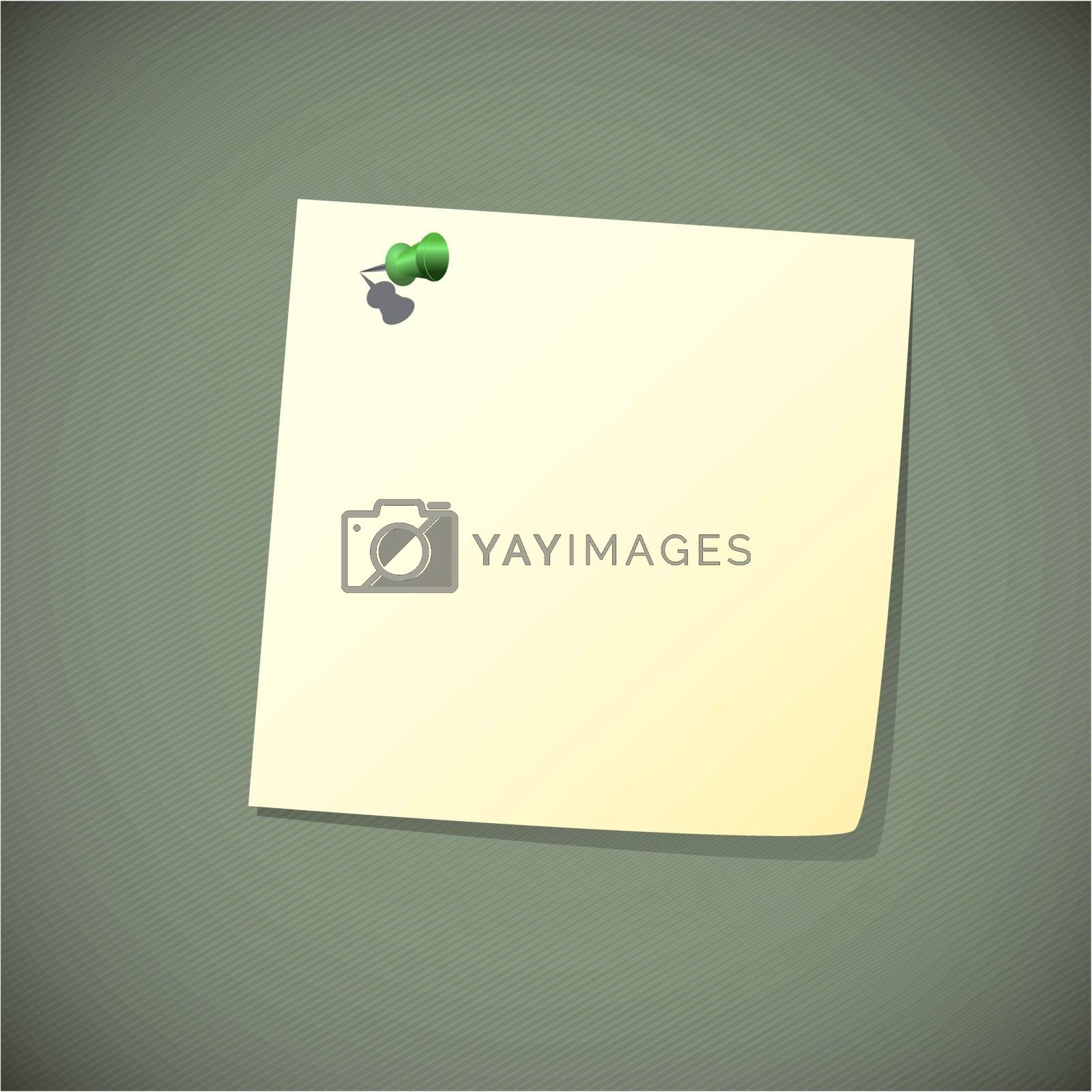 Green read note paper with pin, vector illustration