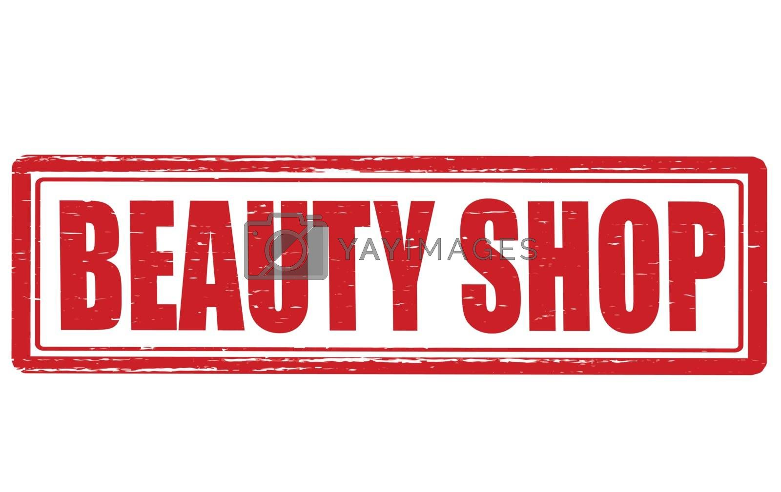 Stamp with text beautz shop inside, vector illustration