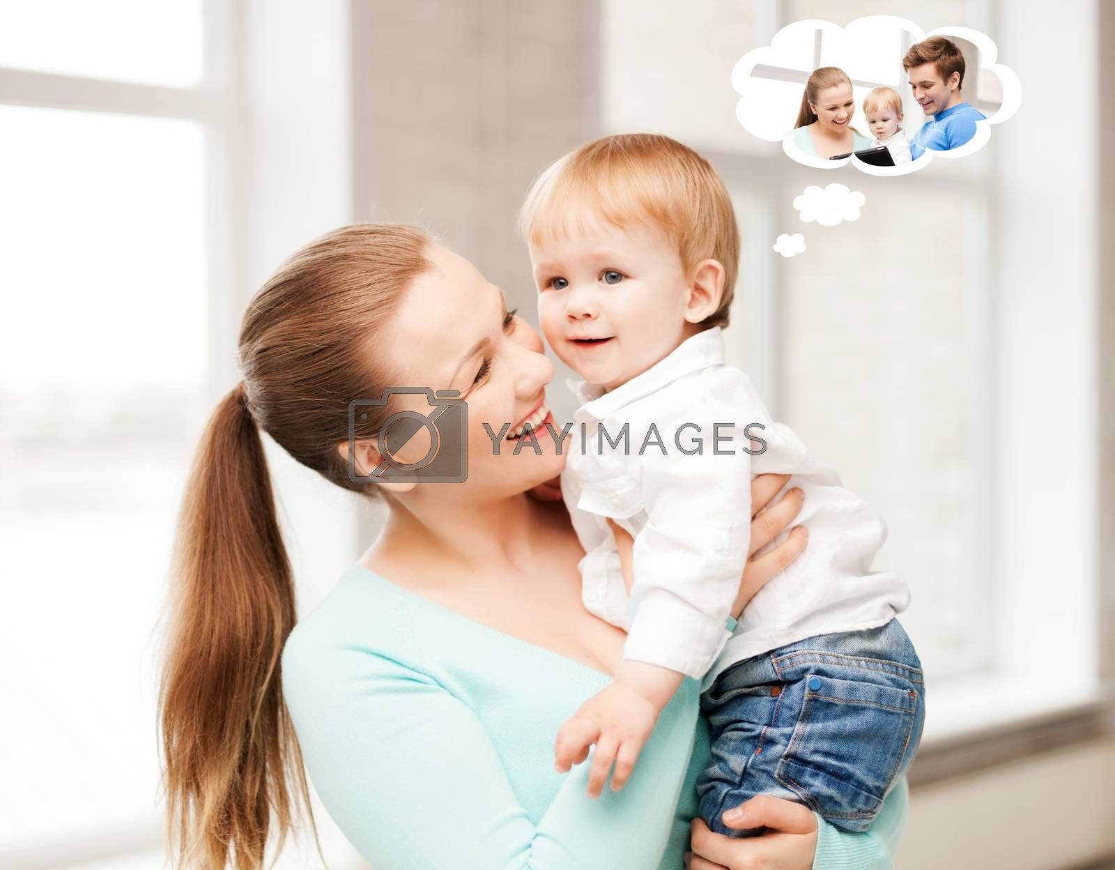 family, home and child care concept - mother with adorable baby thinking about father