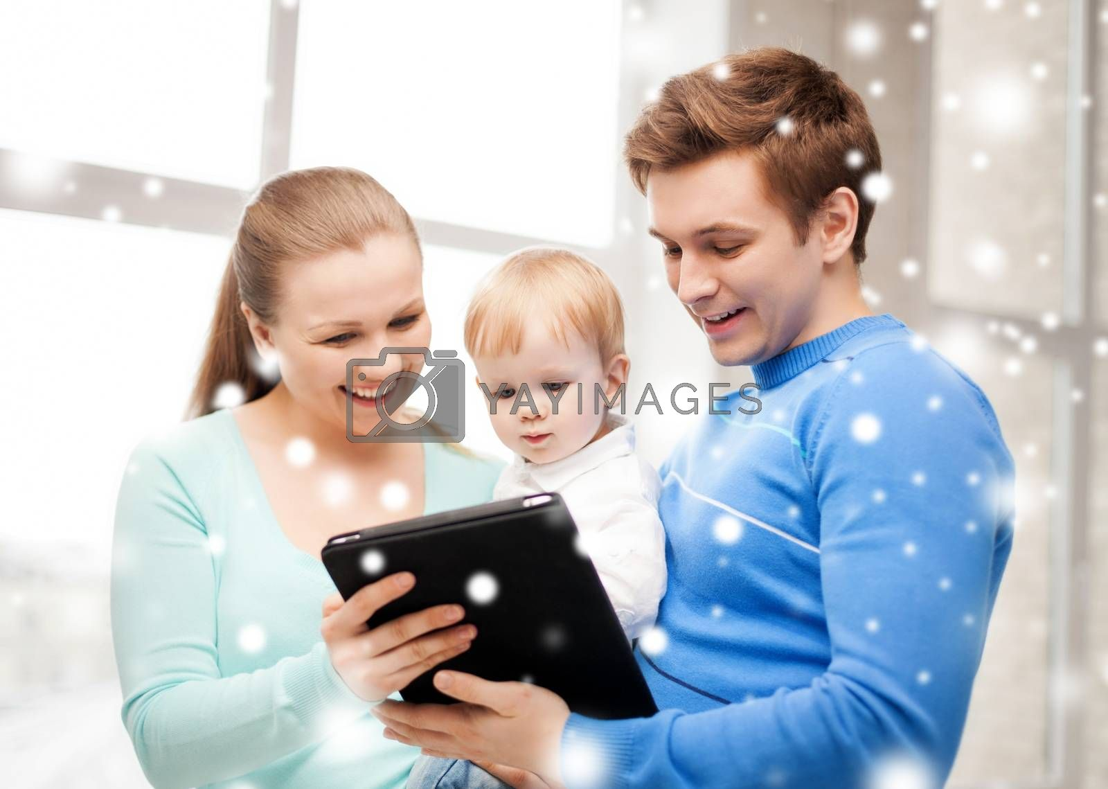 family, children, christmas, x-mas, love, technology concept - happy parents and adorable baby with tablet pc