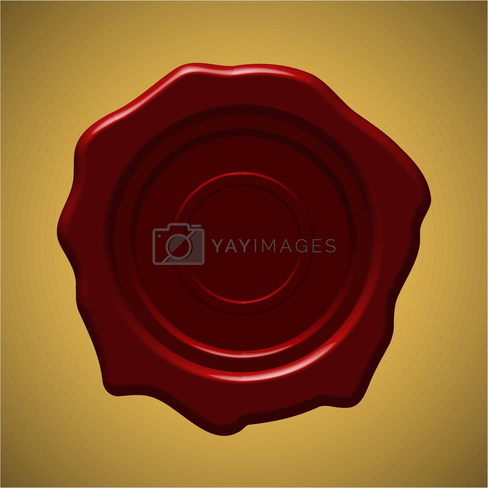Red wax seal on gold gradient background, vector illustration