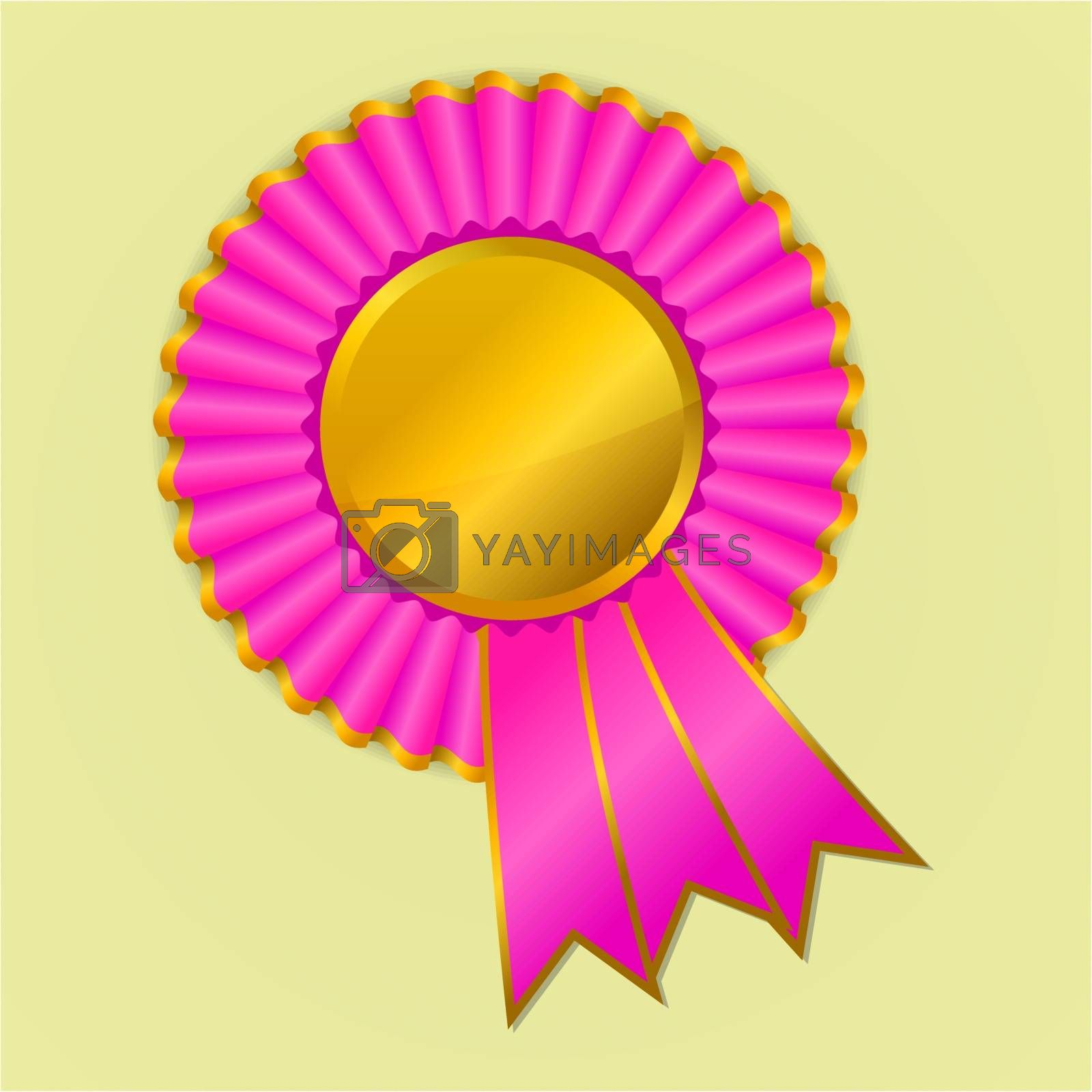 Pink and gold award ribbon rosette on yellow background, vector illustration