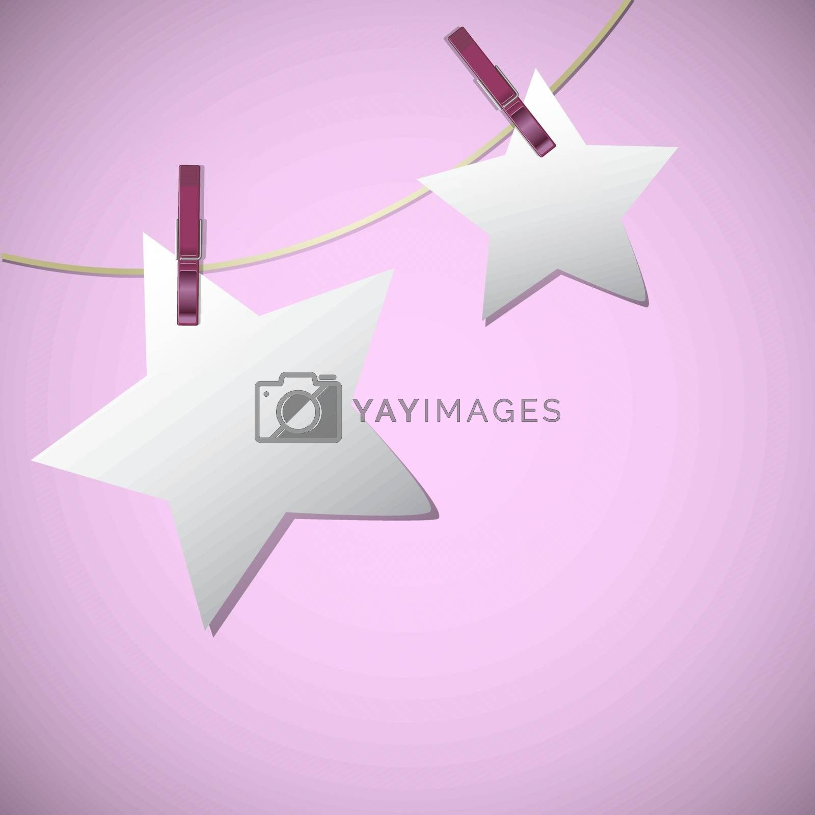Star shape of note papers hang on string with clothes pin, vector illustration