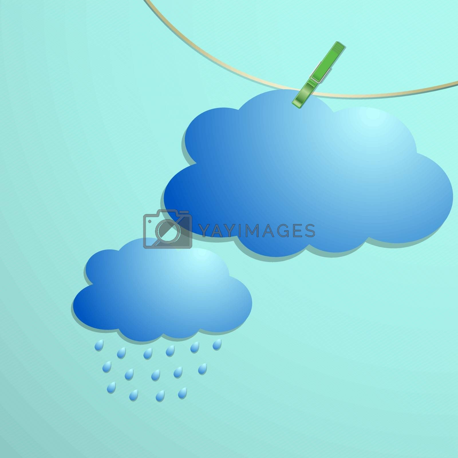Cloud and rain drops icon hang on string, vector illustration