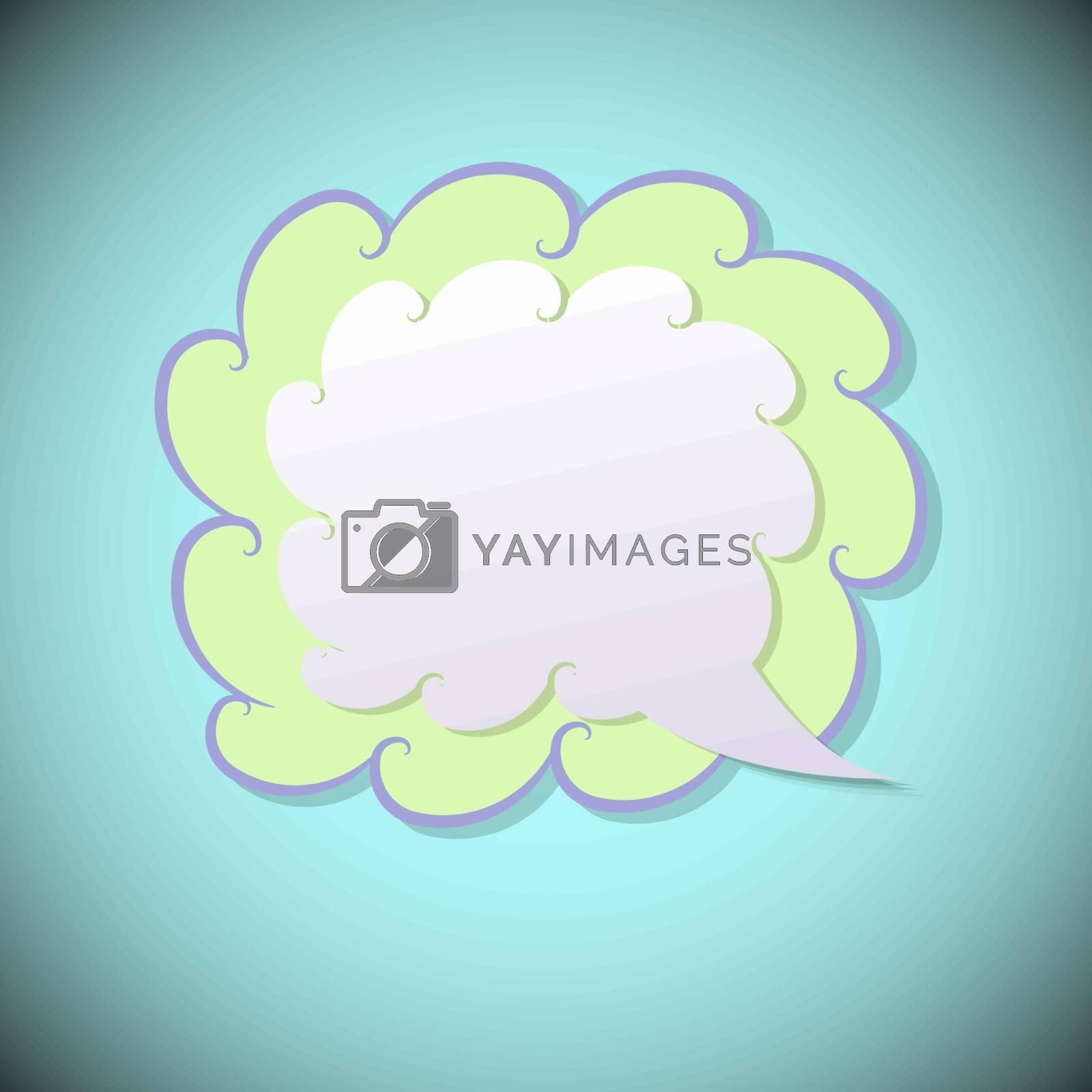 Retro speech bubble on blue background, vector illustration