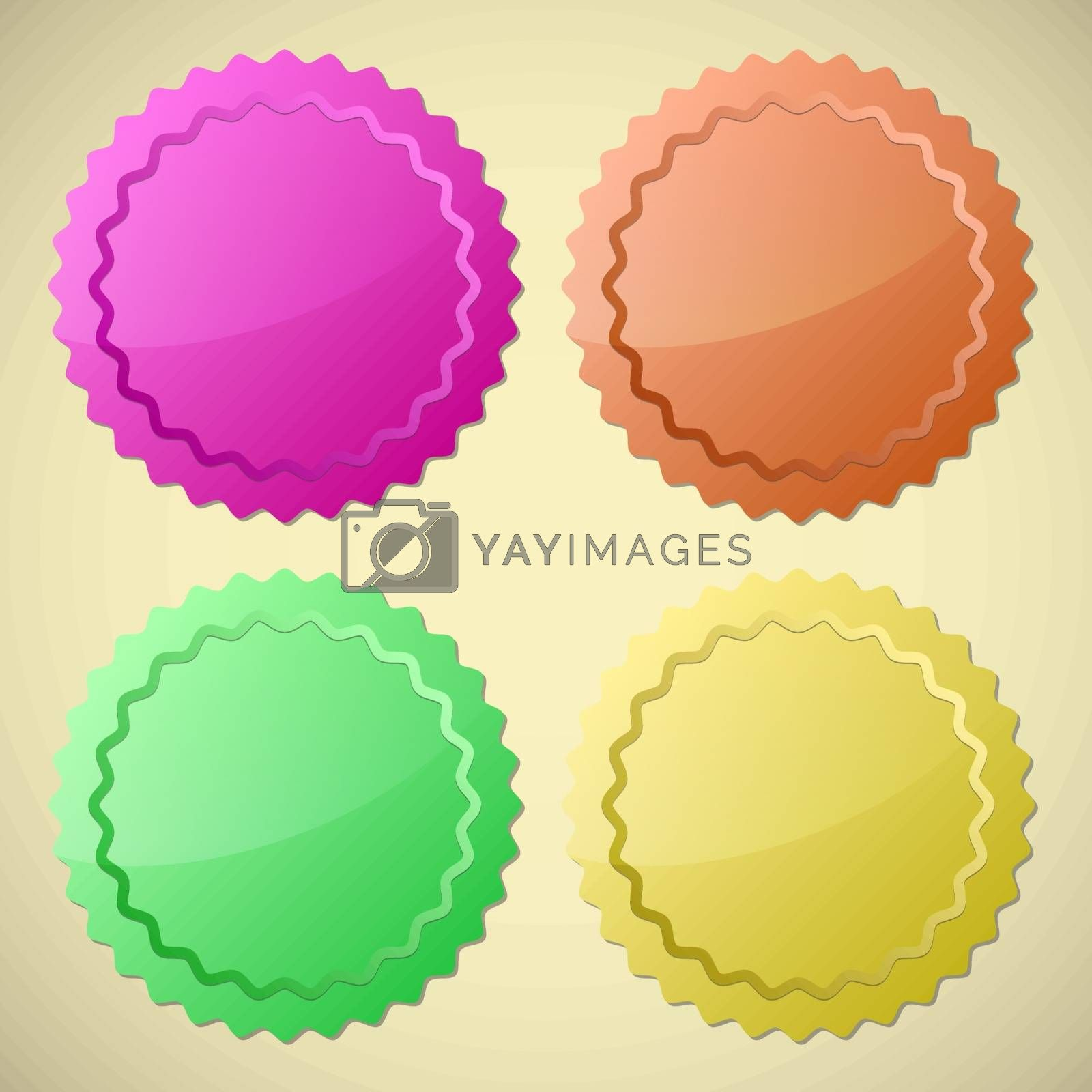 Set of colourful circle labels, vector illustration