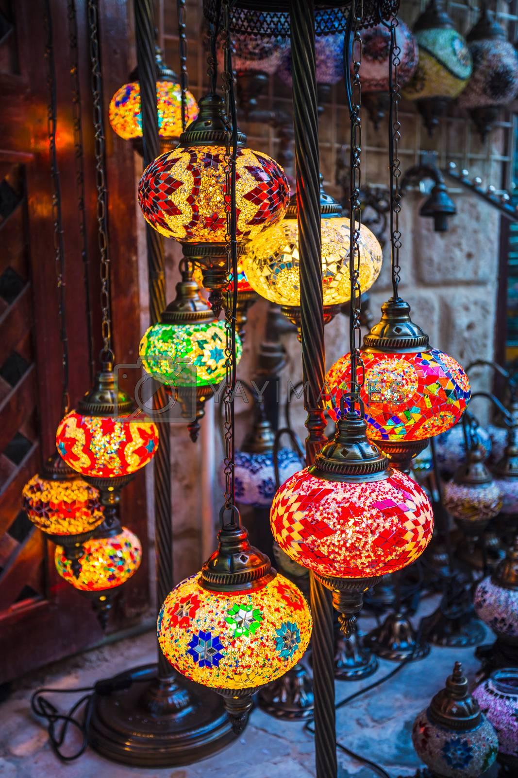 Arab street lanterns in the city of Dubai in the United Arab Emirates