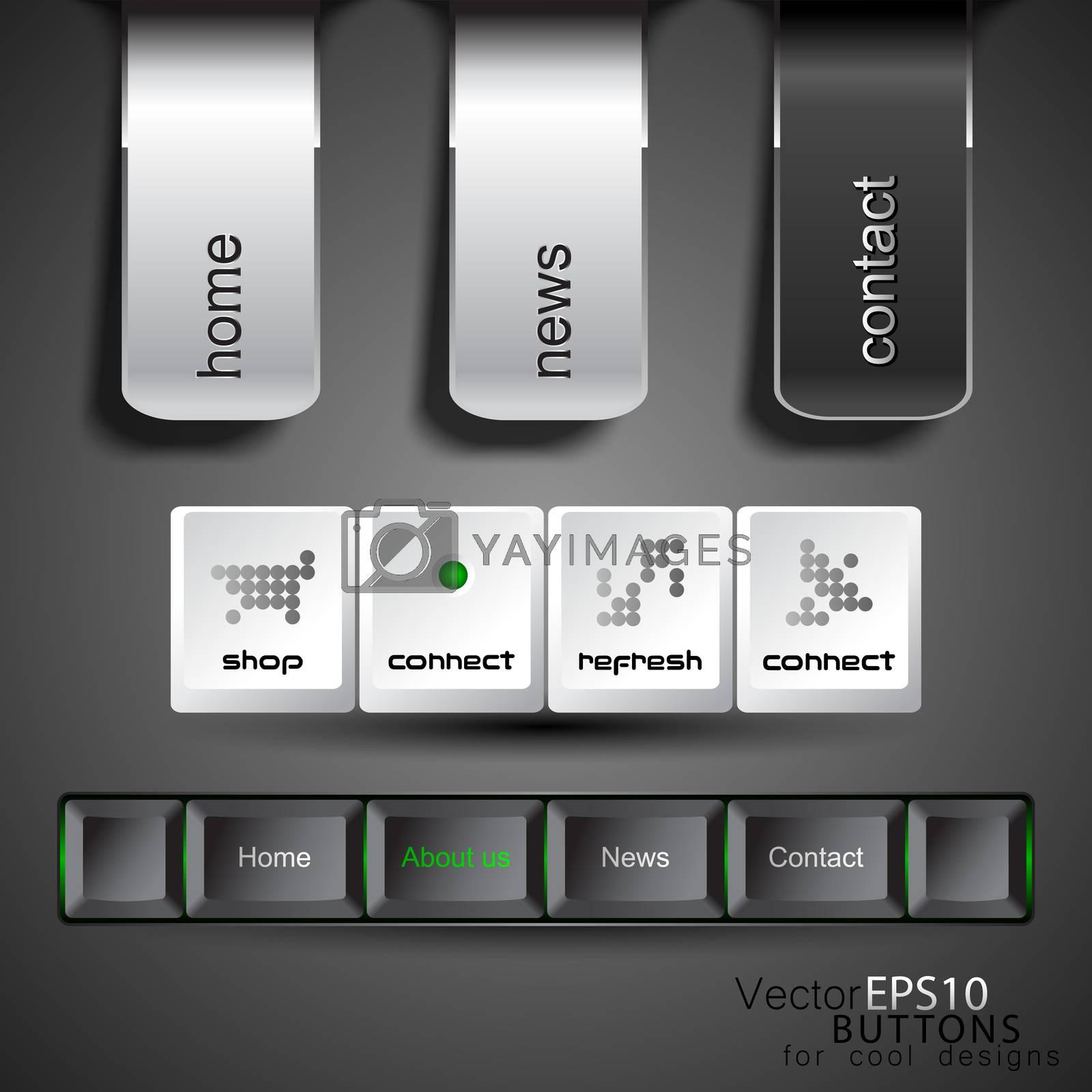 Web design template navigation buttons