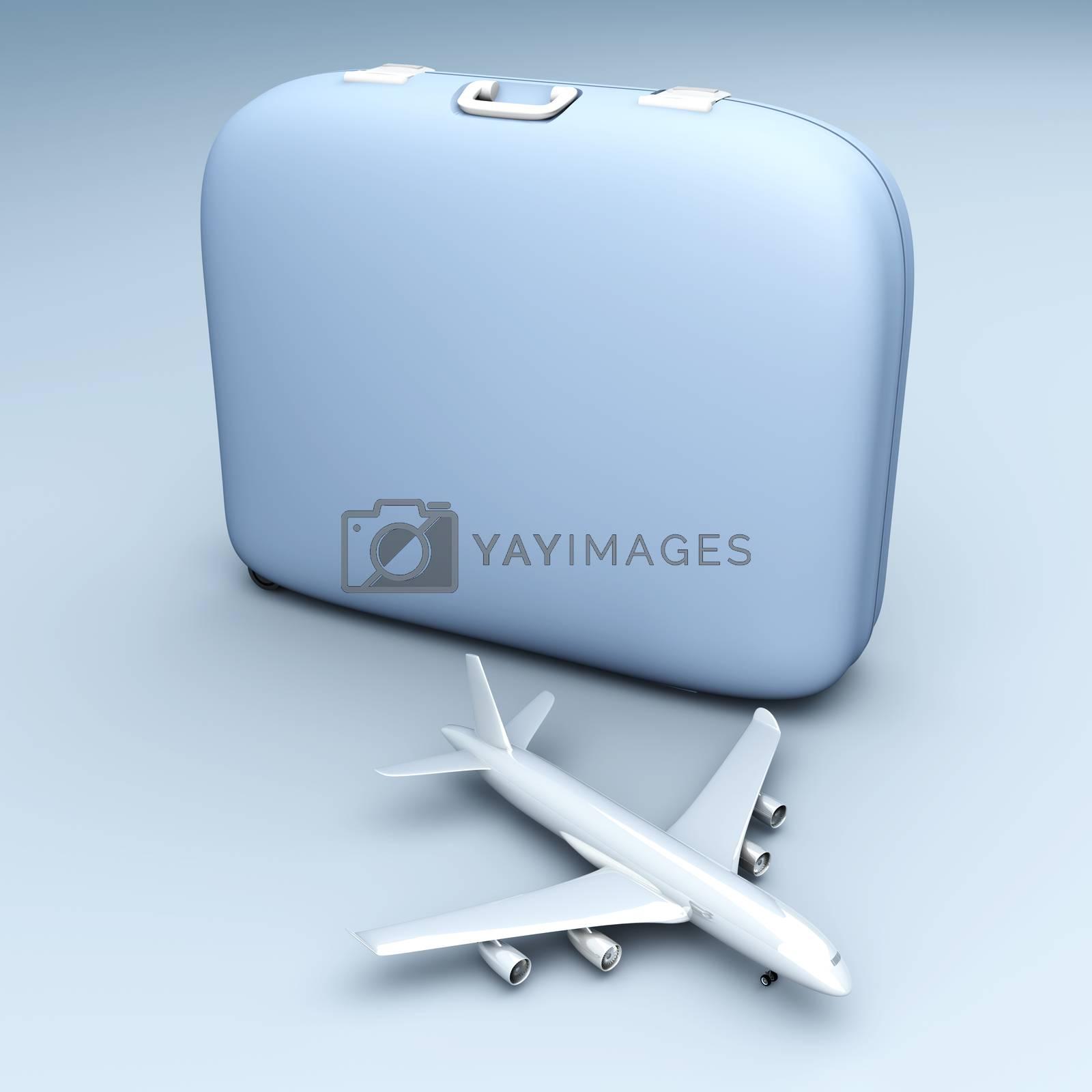 Air travelling. 3D rendered Illustration. Unbalanced lightning setup.