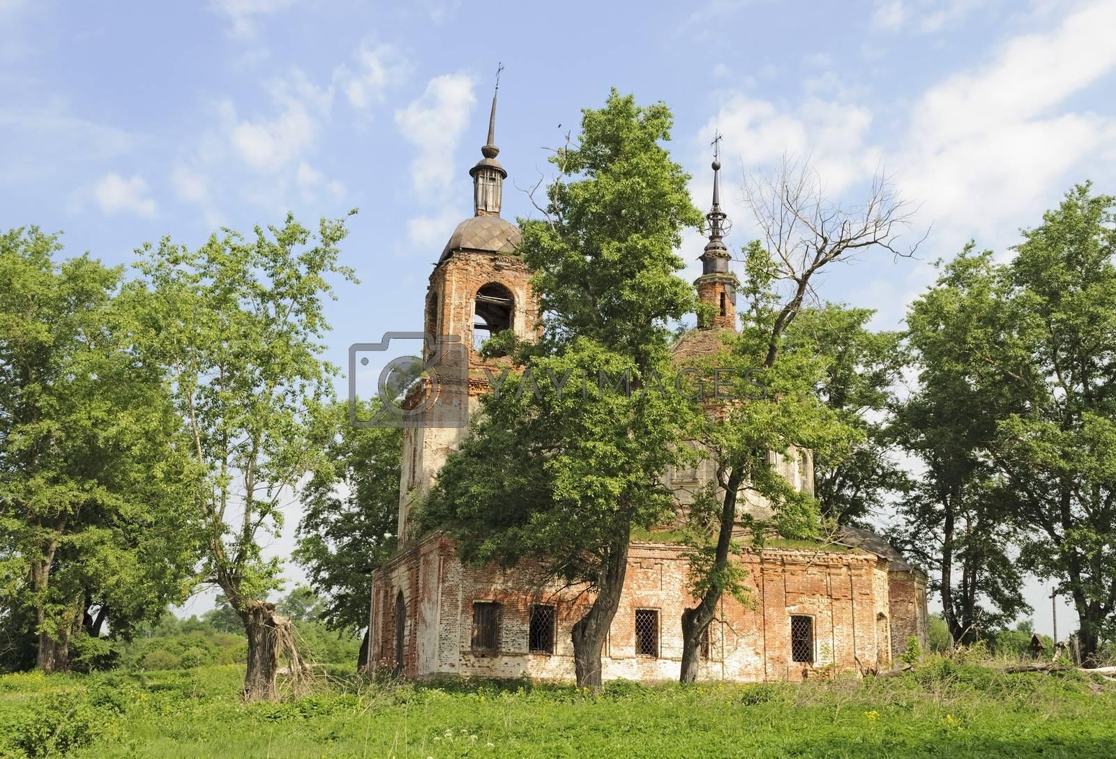 Destroyed Orthodox Church in Spasskoe village, Vladimir region, Russia