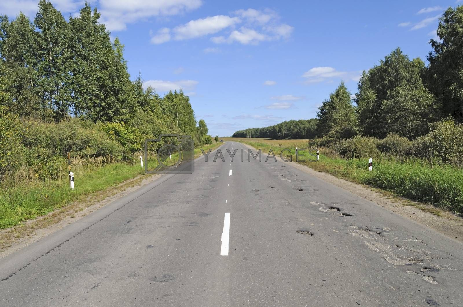 Asphalt road in the country with potholes
