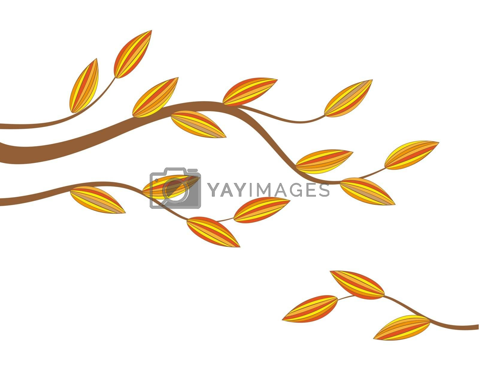 Branch with colorful leaves background
