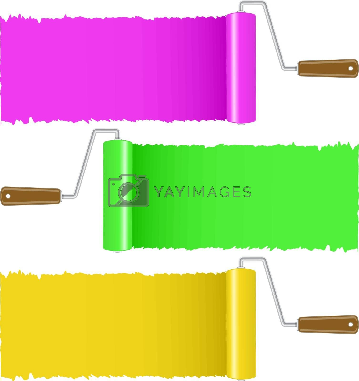 Set of colorful paint roller brush, vector illustration