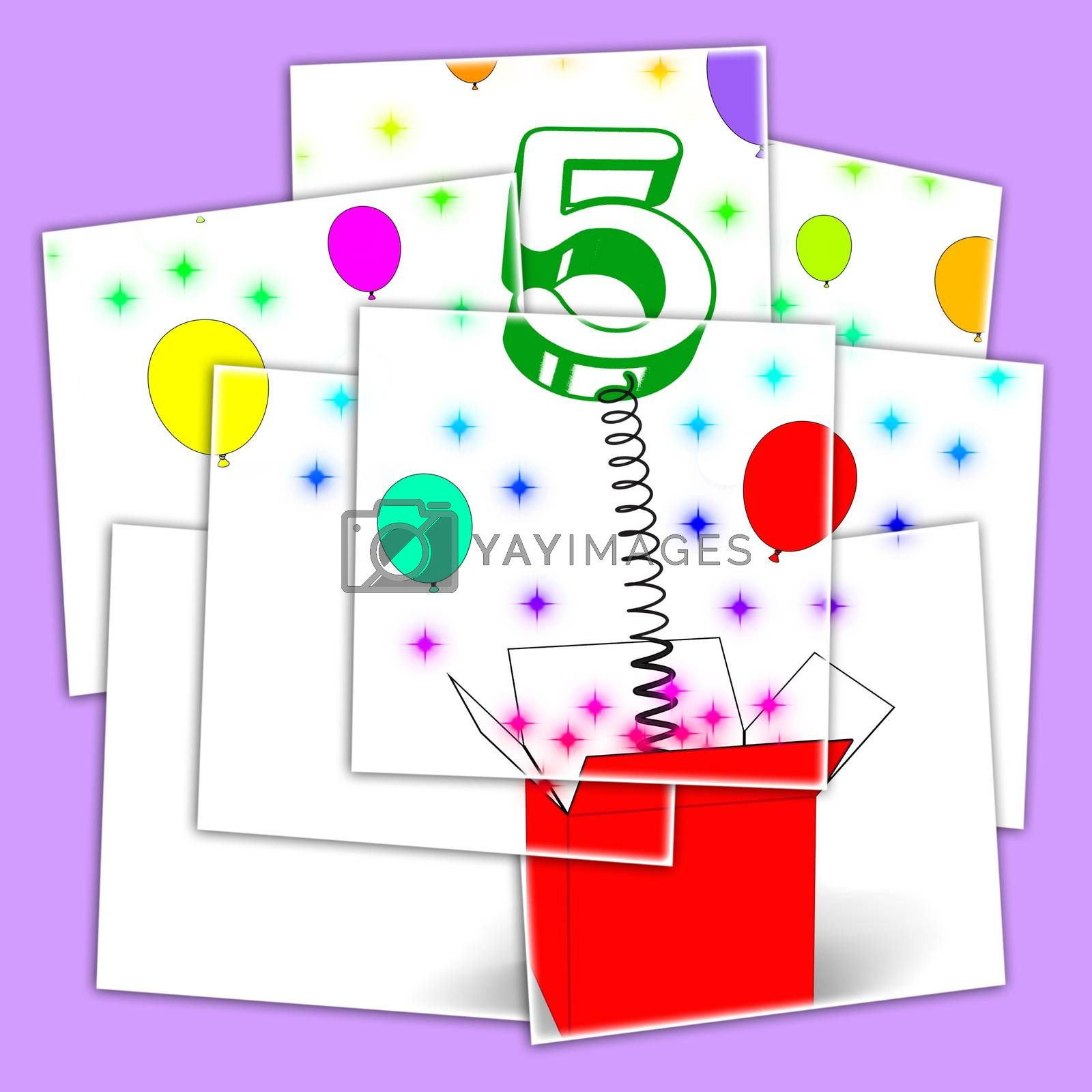 Number Five Surprise Box Displays Surprise Party Or Festivity by stuartmiles