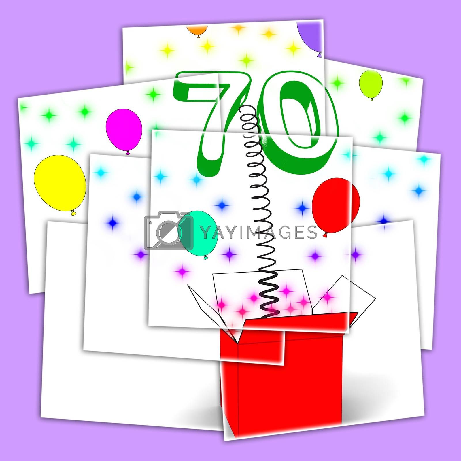 Royalty free image of Number Seventy Surprise Box Displays Sparkling Balloons And Conf by stuartmiles